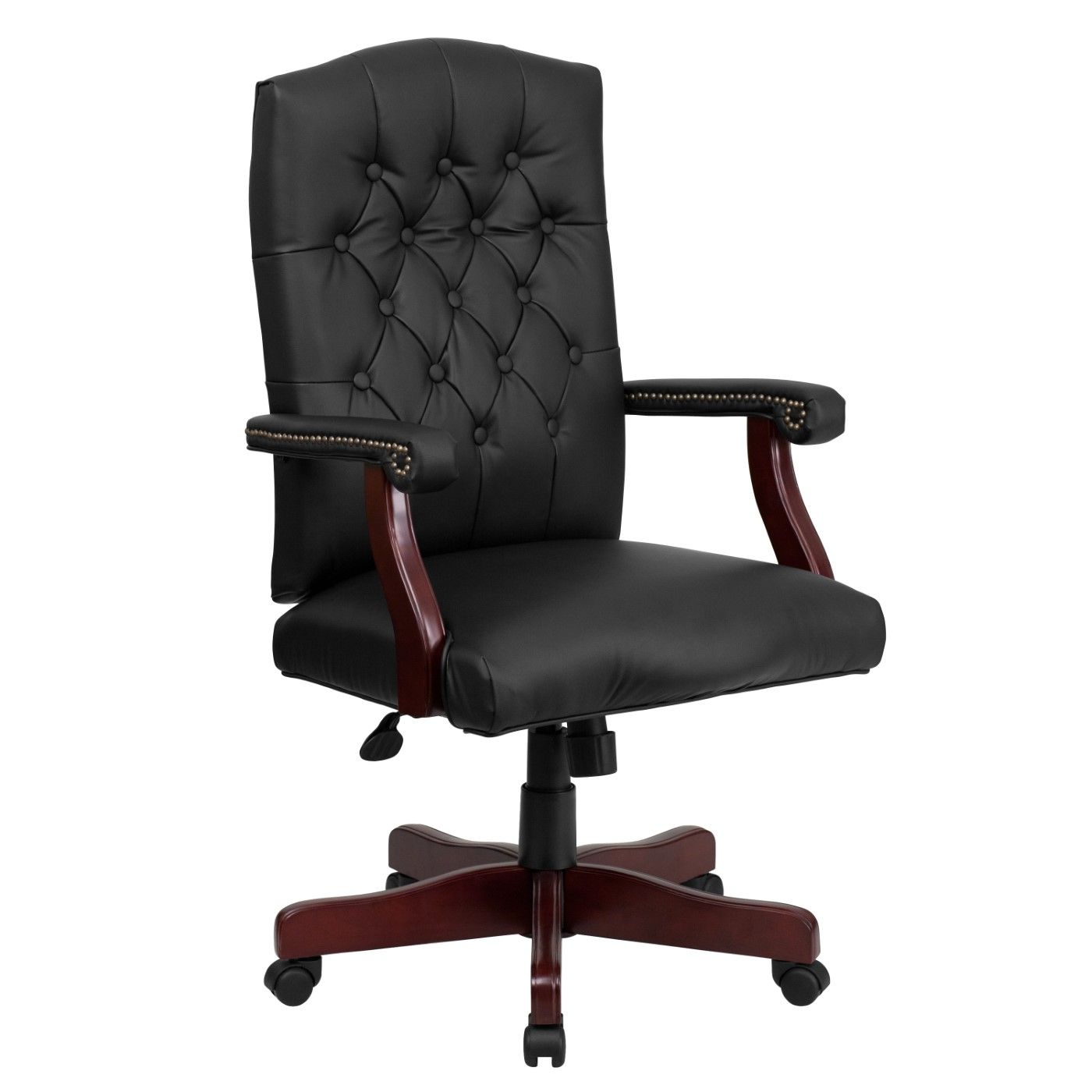 Martha Washington Black LeatherSoft Executive Swivel Office Chair with Arms