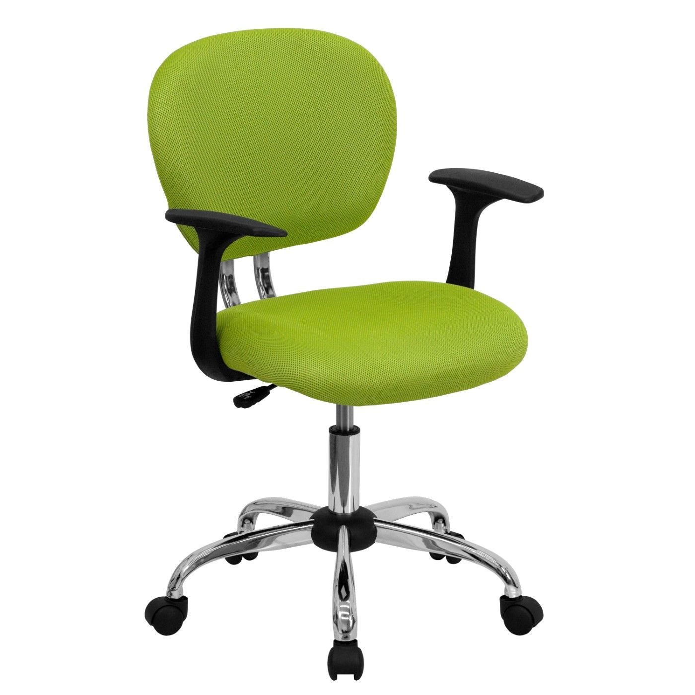 Mid-Back Apple Green Mesh Padded Swivel Task Office Chair with Chrome Base and Arms