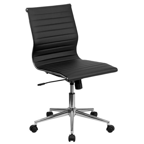 Mid-Back Armless Black Ribbed LeatherSoft Swivel Conference Office Chair