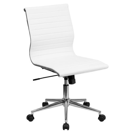 Mid-Back Armless White Ribbed LeatherSoft Swivel Conference Office Chair