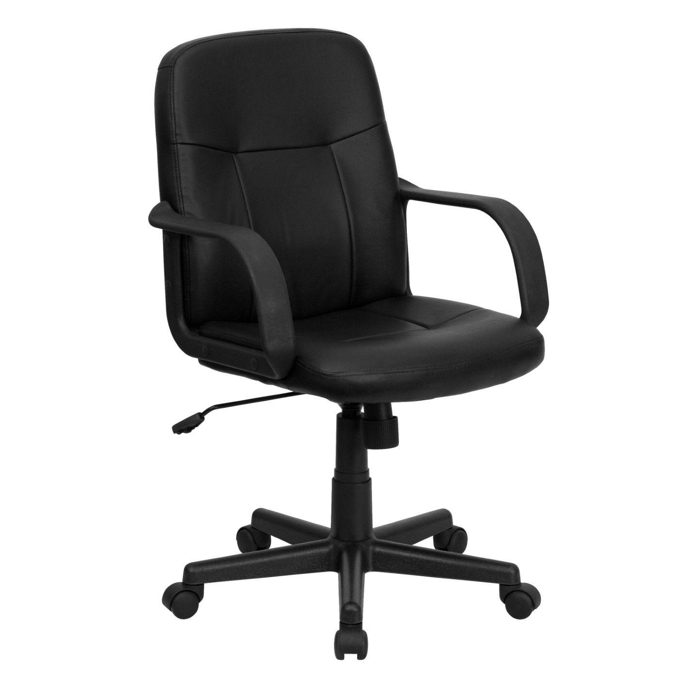 Mid-Back Black Glove Vinyl Executive Swivel Office Chair with Arms