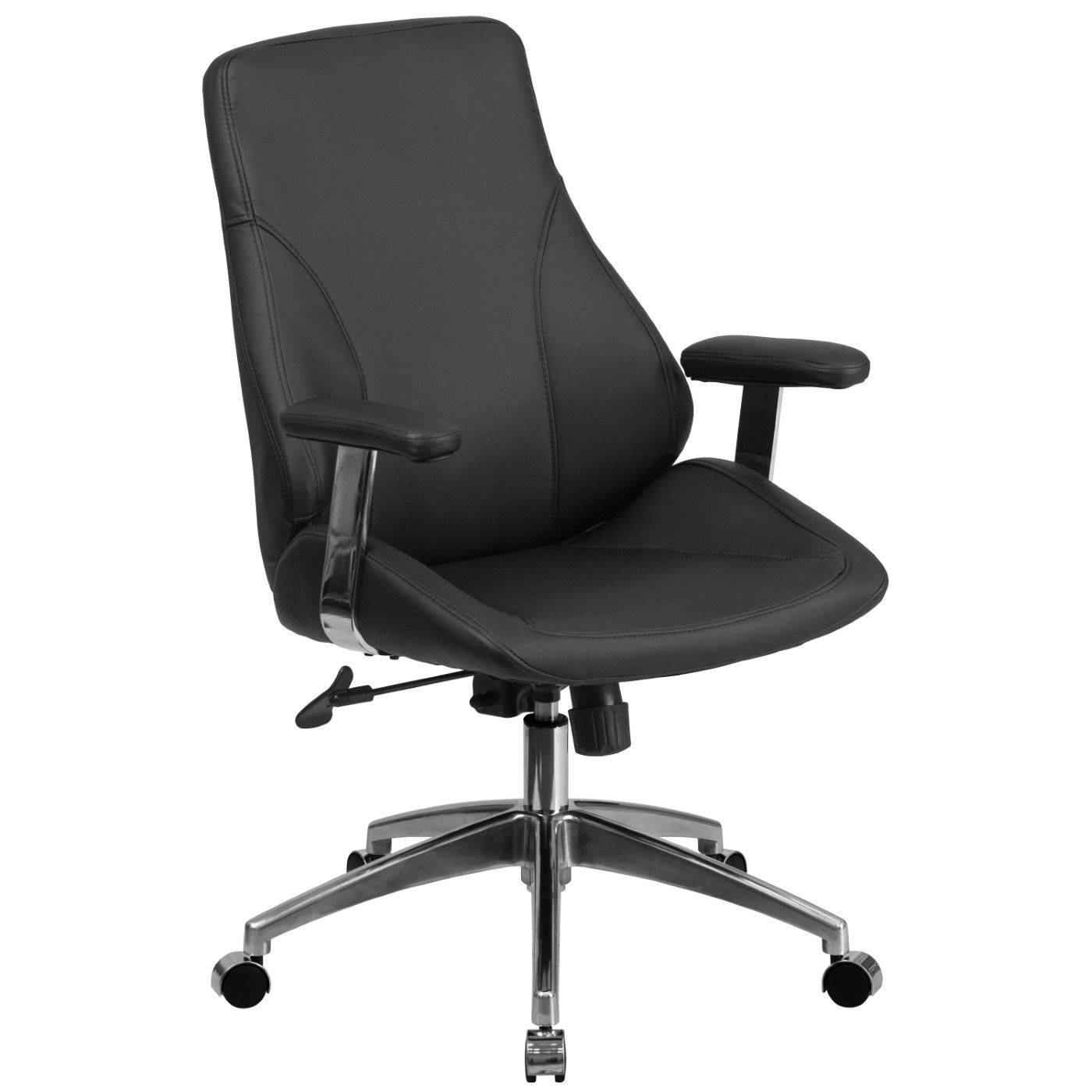 Mid-Back Black LeatherSoft Smooth Upholstered Executive Swivel Office Chair with Arms