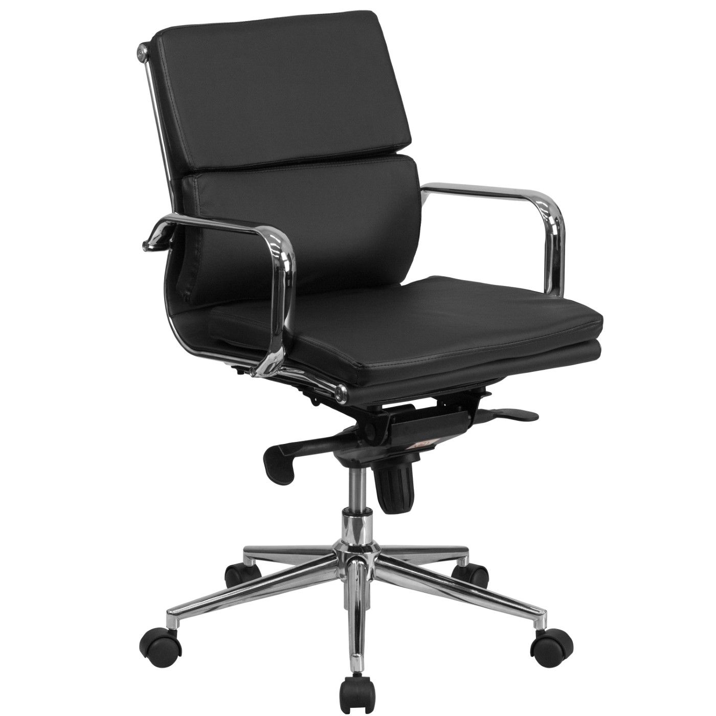 Mid-Back Black LeatherSoft Executive Swivel Office Chair with Synchro-Tilt Mechanism and Arms
