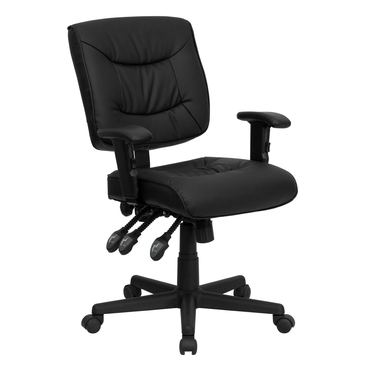 Leather task chair with arms