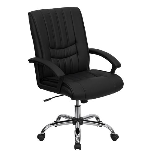 Mid-Back Black LeatherSoft Swivel Manager's Office Chair with Arms