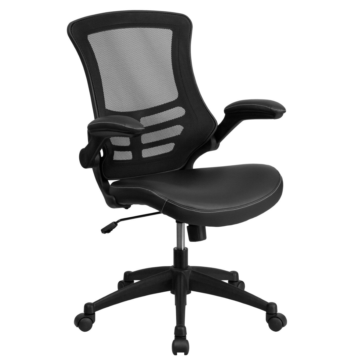Desk Chair with Wheels|Swivel Chair with Mid-Back Black Mesh and LeatherSoft Seat for Home Office and Desk