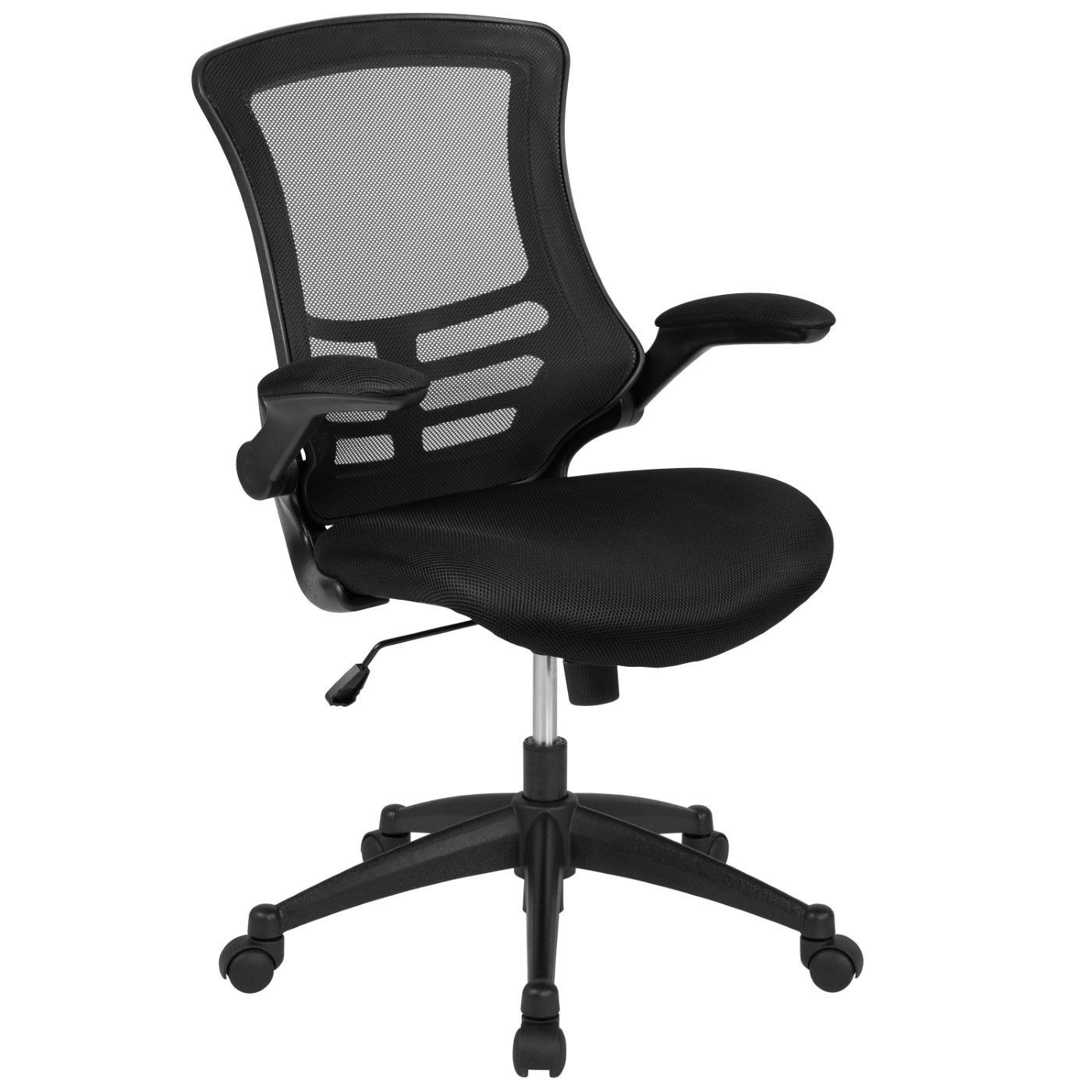 Mid-Back Black Mesh Swivel Ergonomic Task Office Chair with Flip-Up Arms, BIFMA Certified
