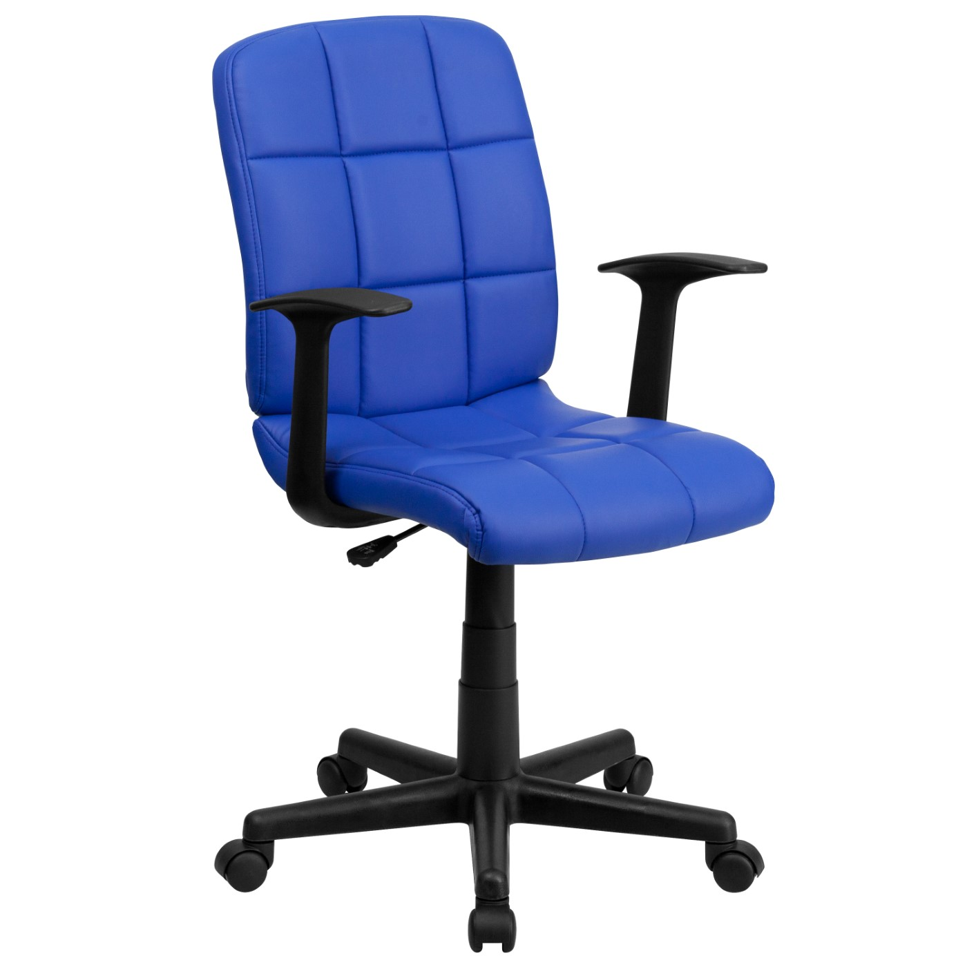 Mid-Back Blue Quilted Vinyl Swivel Task Office Chair with Arms