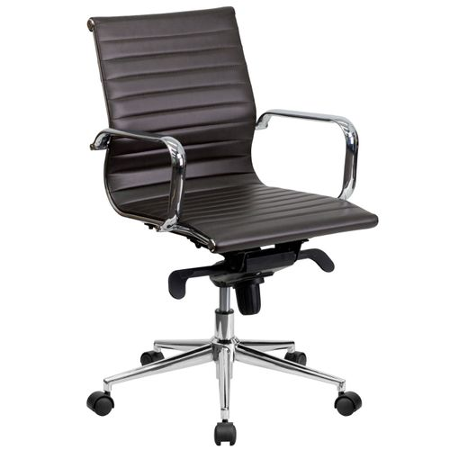 Mid-Back Brown Ribbed LeatherSoft Swivel Conference Office Chair with Knee-Tilt Control and Arms