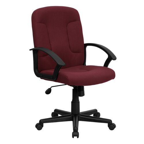 Mid-Back Burgundy Fabric Executive Swivel Office Chair with Nylon Arms