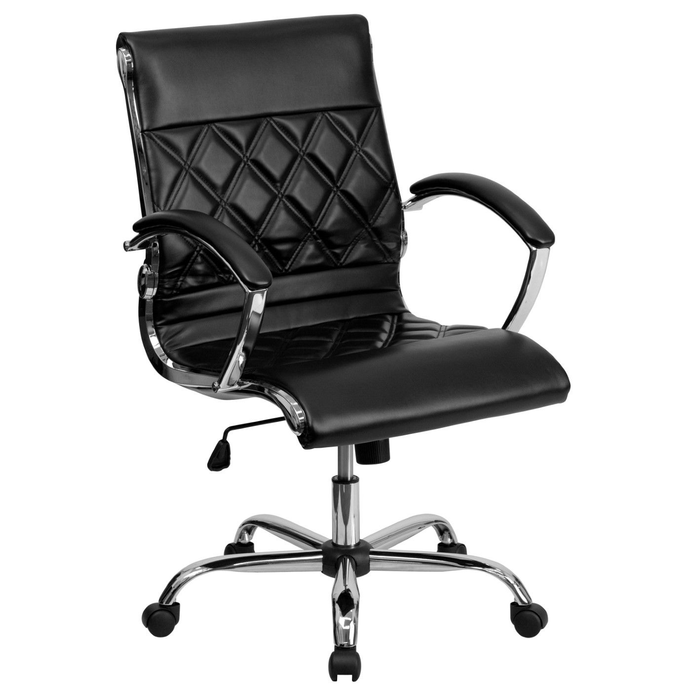Mid-Back Designer Black LeatherSoft Executive Swivel Office Chair with Chrome Base and Arms