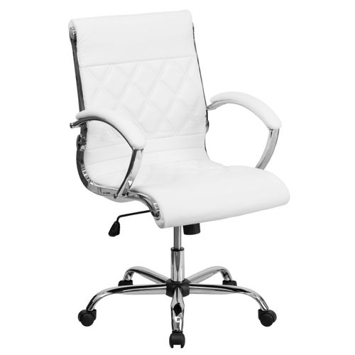 Mid-Back Designer White LeatherSoft Executive Swivel Office Chair with Chrome Base and Arms