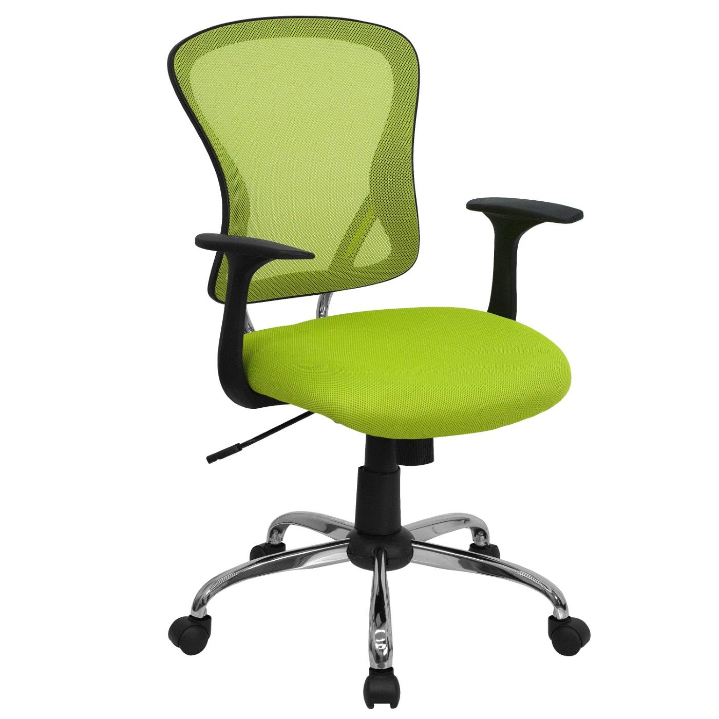 Mid-Back Green Mesh Swivel Task Office Chair with Chrome Base and Arms