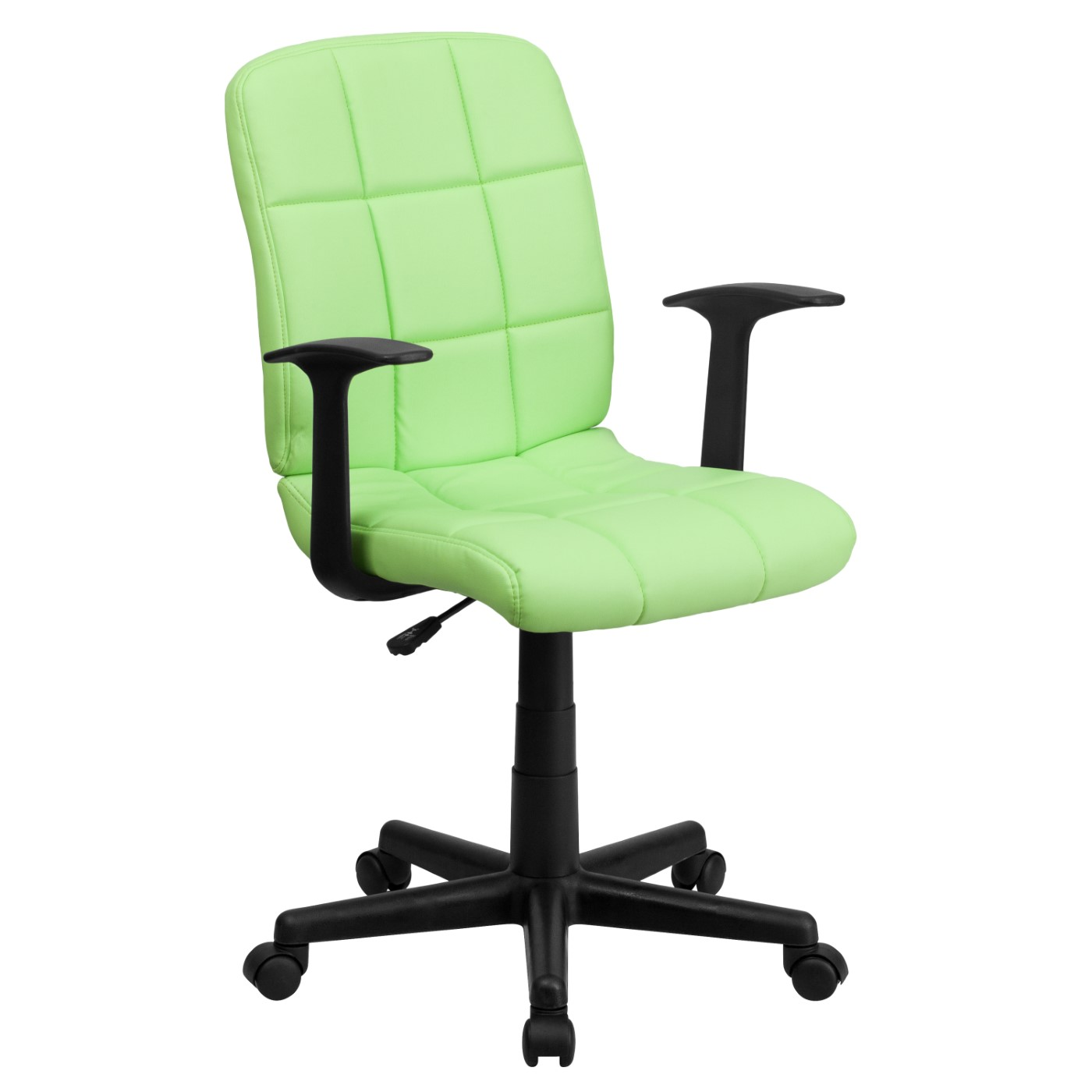 Mid-Back Green Quilted Vinyl Swivel Task Office Chair with Arms