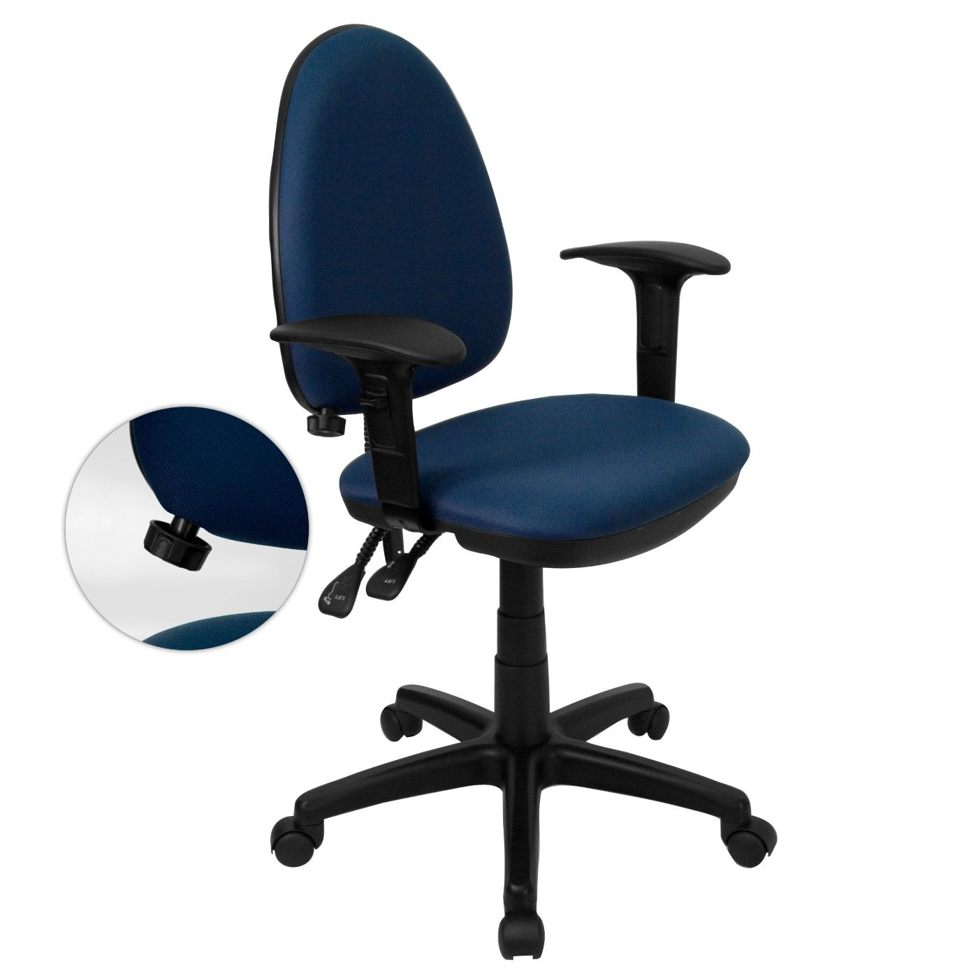 Mid-Back Navy Blue Fabric Multifunction Swivel Ergonomic Task Office Chair with Adjustable Lumbar Support & Arms
