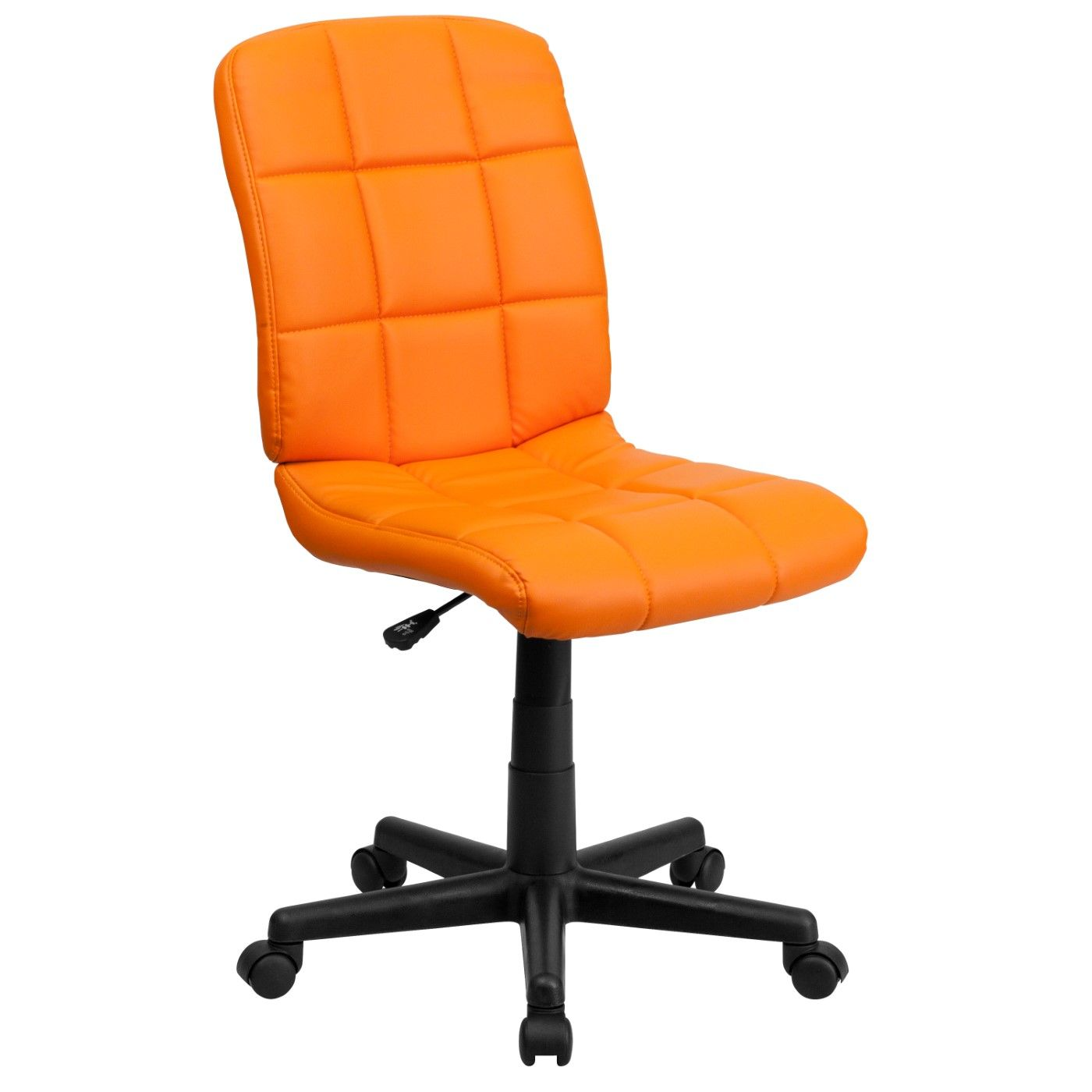 Mid-Back Orange Quilted Vinyl Swivel Task Office Chair