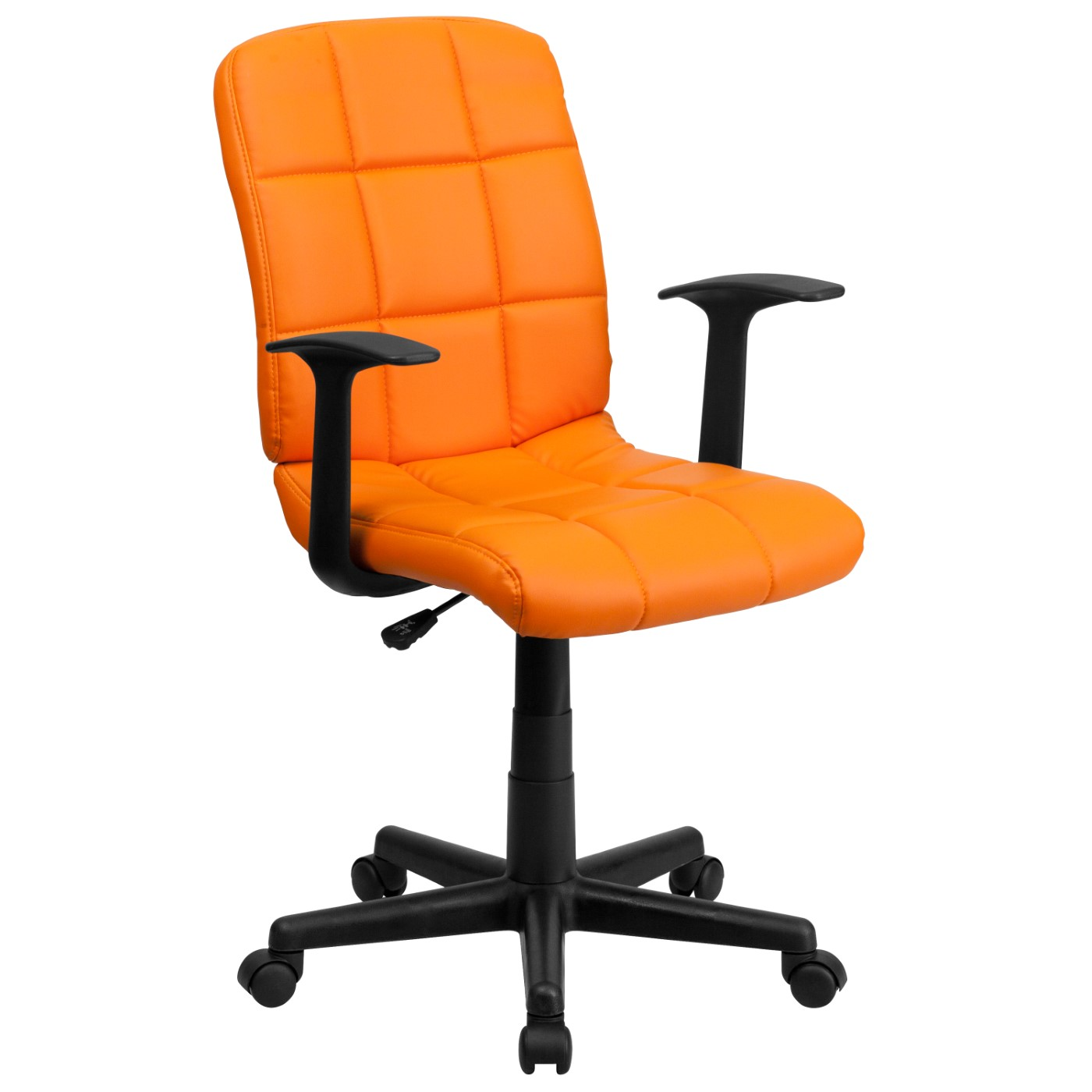 Mid-Back Orange Quilted Vinyl Swivel Task Office Chair with Arms