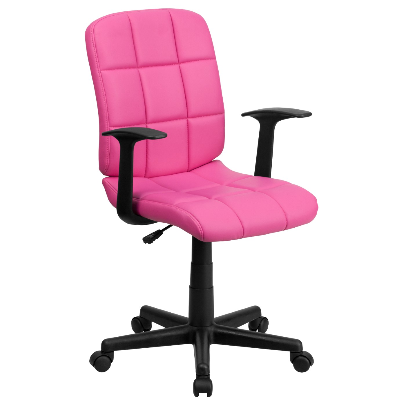 Mid-Back Pink Quilted Vinyl Swivel Task Office Chair with Arms