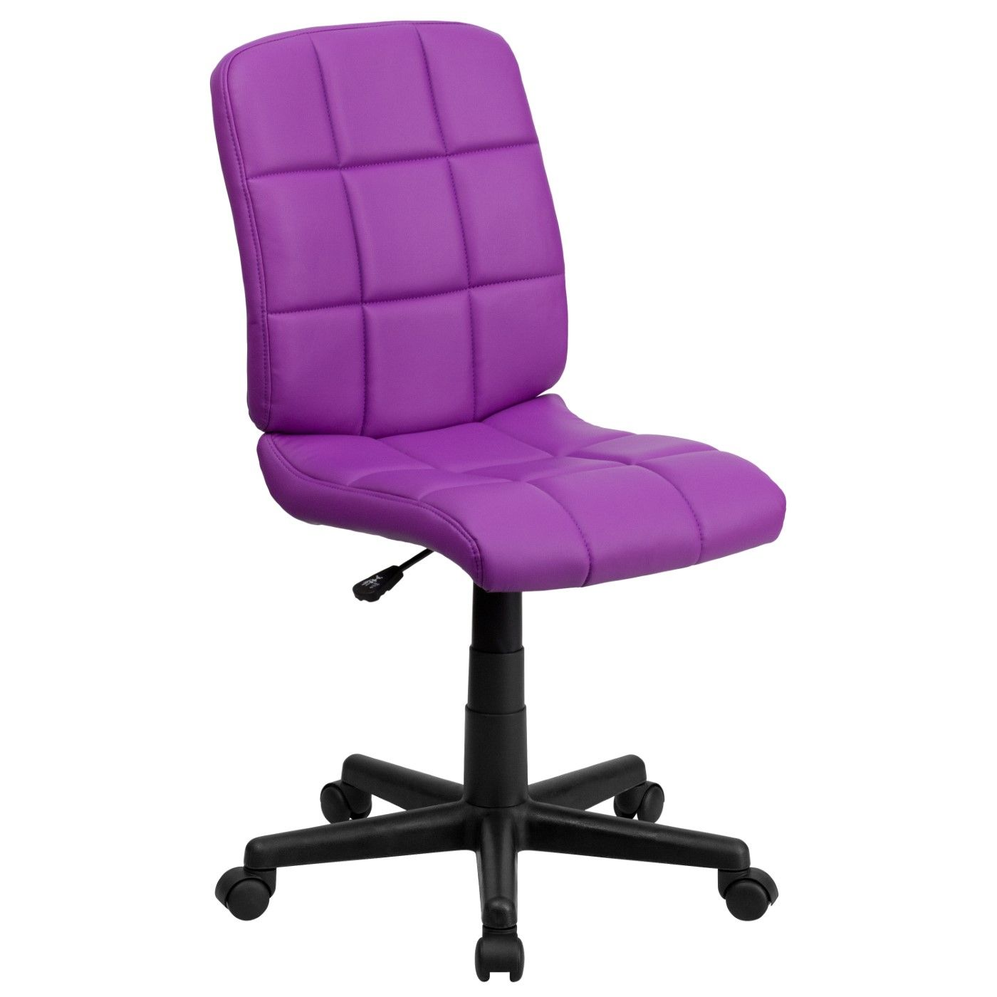 Mid-Back Purple Quilted Vinyl Swivel Task Office Chair