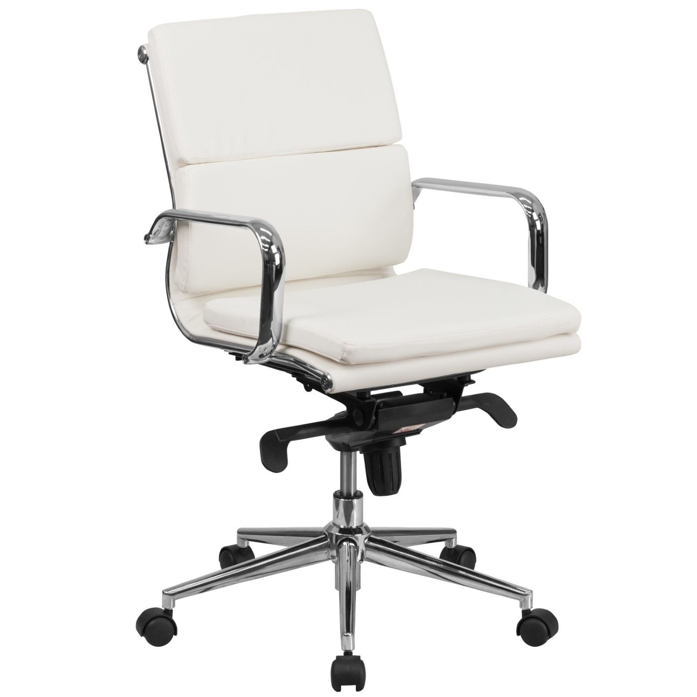 Mid-Back White LeatherSoft Executive Swivel Office Chair with Synchro-Tilt Mechanism and Arms