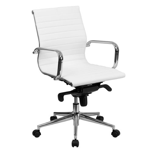 Mid-Back White Ribbed LeatherSoft Swivel Conference Office Chair with Knee-Tilt Control and Arms