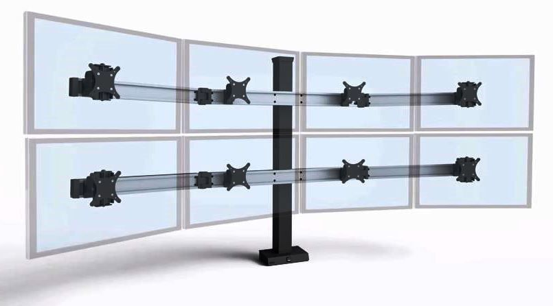 MONITOR STANDS AND ARMS OFFERED IN SINGLE, DUAL, TRIPLE, QUAD, AND MULTIPLE MONITOR APPLICATIONS.