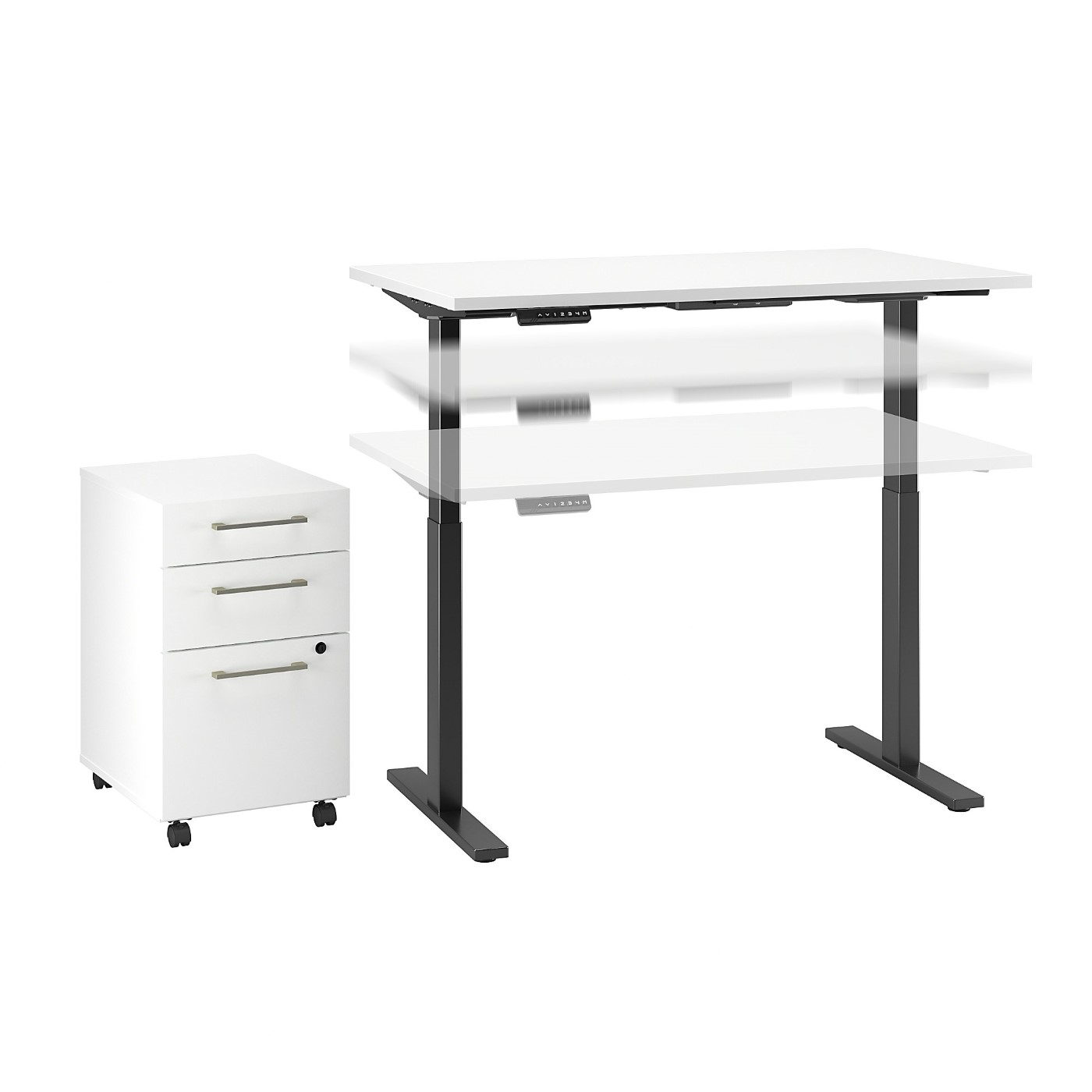 MOVE 60 SERIES BY BUSH BUSINESS FURNITURE 48W X 24D HEIGHT WHITE ADJUSTABLE STANDING DESK WITH STORAGE. FREE SHIPPING