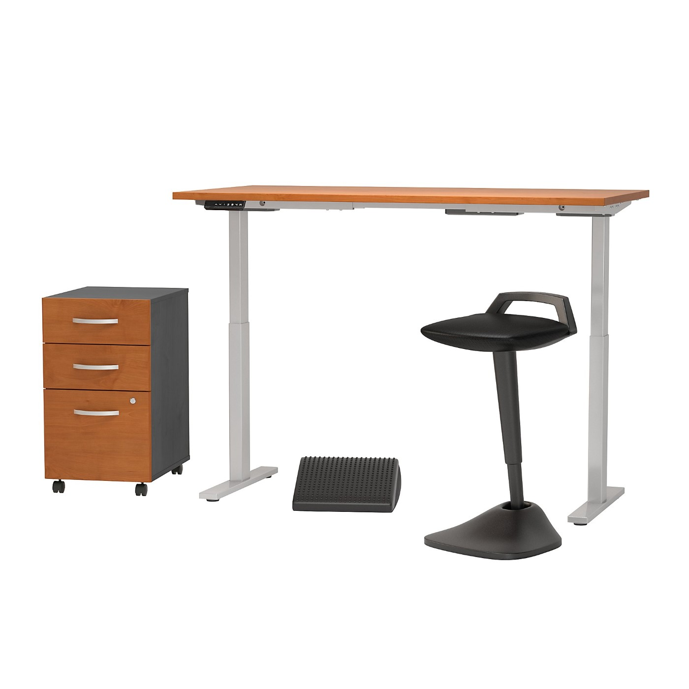 MOVE 60 SERIES BY BUSH BUSINESS FURNITURE 60W X 30D ADJUSTABLE STANDING DESK WITH LEAN STOOL, STORAGE AND ERGONOMIC ACCESSORIES. FREE SHIPPING
