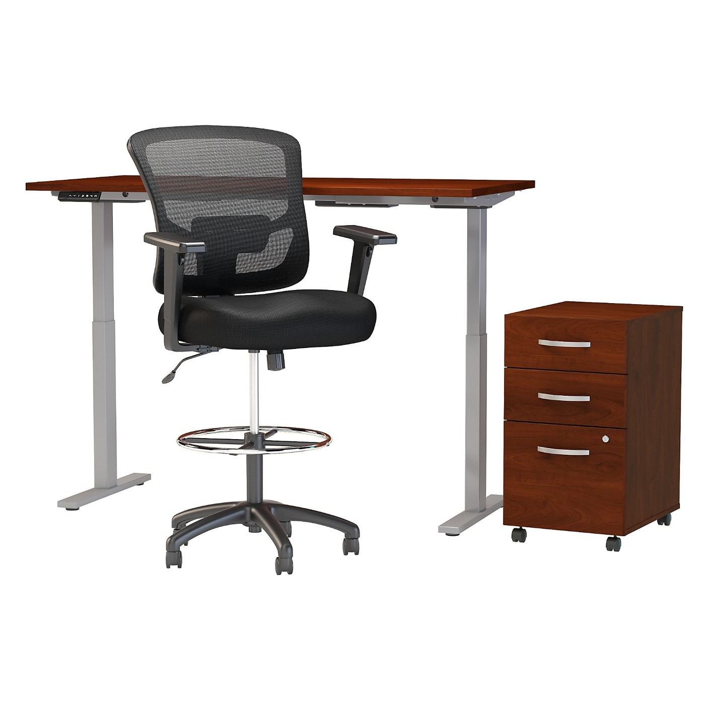 MOVE 60 SERIES BY BUSH BUSINESS FURNITURE 60W X 30D HEIGHT ADJUSTABLE STANDING DESK WITH STORAGE AND DRAFTING CHAIR. FREE SHIPPING