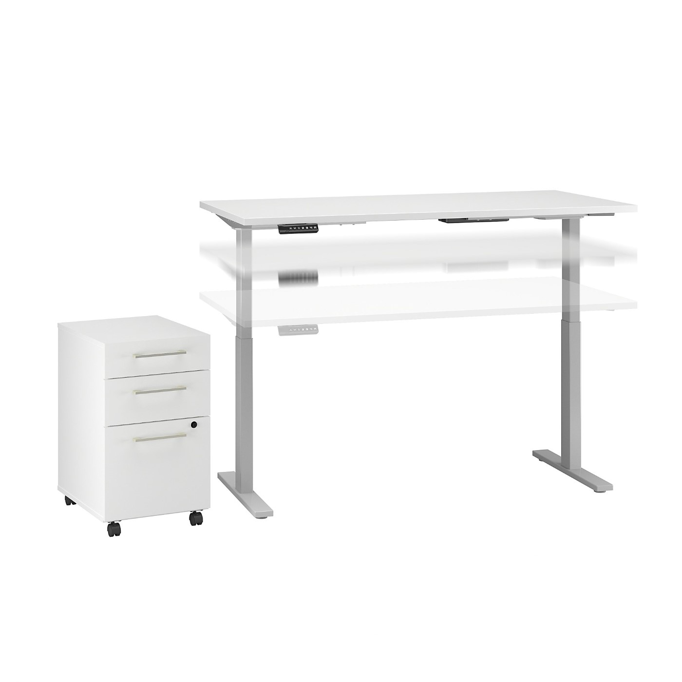 MOVE 60 SERIES BY BUSH BUSINESS FURNITURE 60W X 30D HEIGHT ADJUSTABLE STANDING DESK WITH STORAGE. FREE SHIPPING