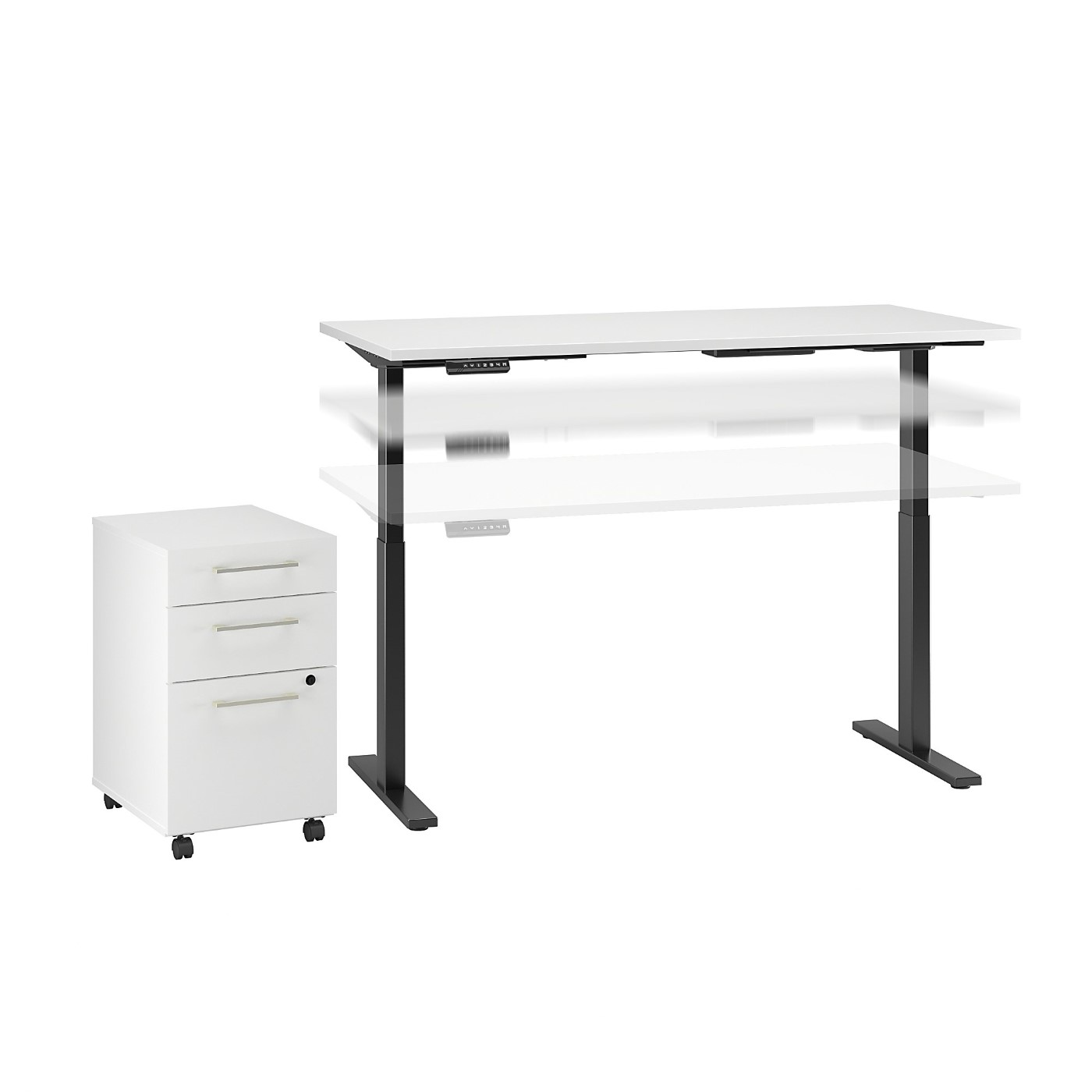 MOVE 60 SERIES BY BUSH BUSINESS FURNITURE 72W X 30D HEIGHT ADJUSTABLE STANDING DESK WITH STORAGE. FREE SHIPPING