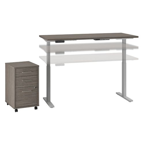 MOVE 60 SERIES BY BUSH BUSINESS FURNITURE 72W X 30D HEIGHT ADJUSTABLE STANDING DESK WITH STORAGE. FREE SHIPPING - <font color=red><b>OUT OF STOCK</b></font>