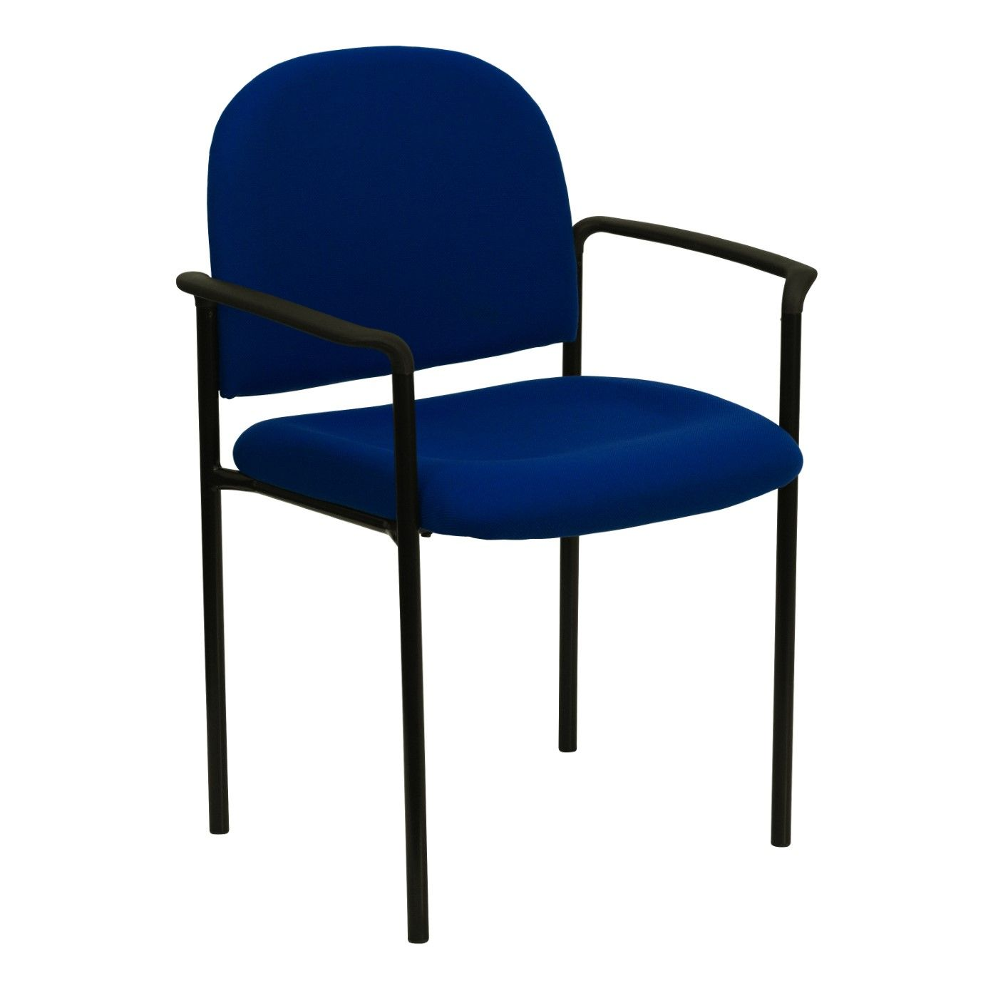 Comfort Navy Fabric Stackable Steel Side Reception Chair with Arms