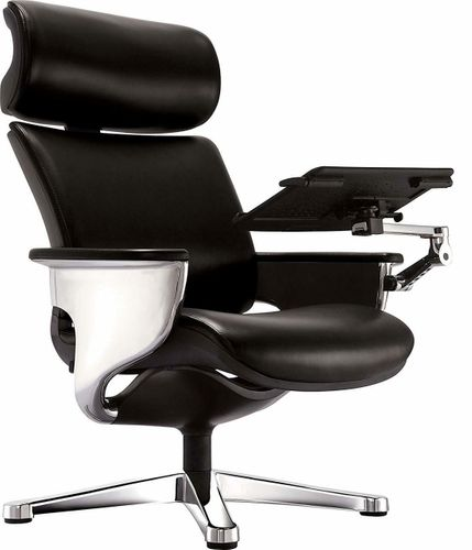 Nuvem Black Leather Office Chair - FREE SHIPPING