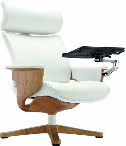 Nuvem White Leather Office Chair - FREE SHIPPING