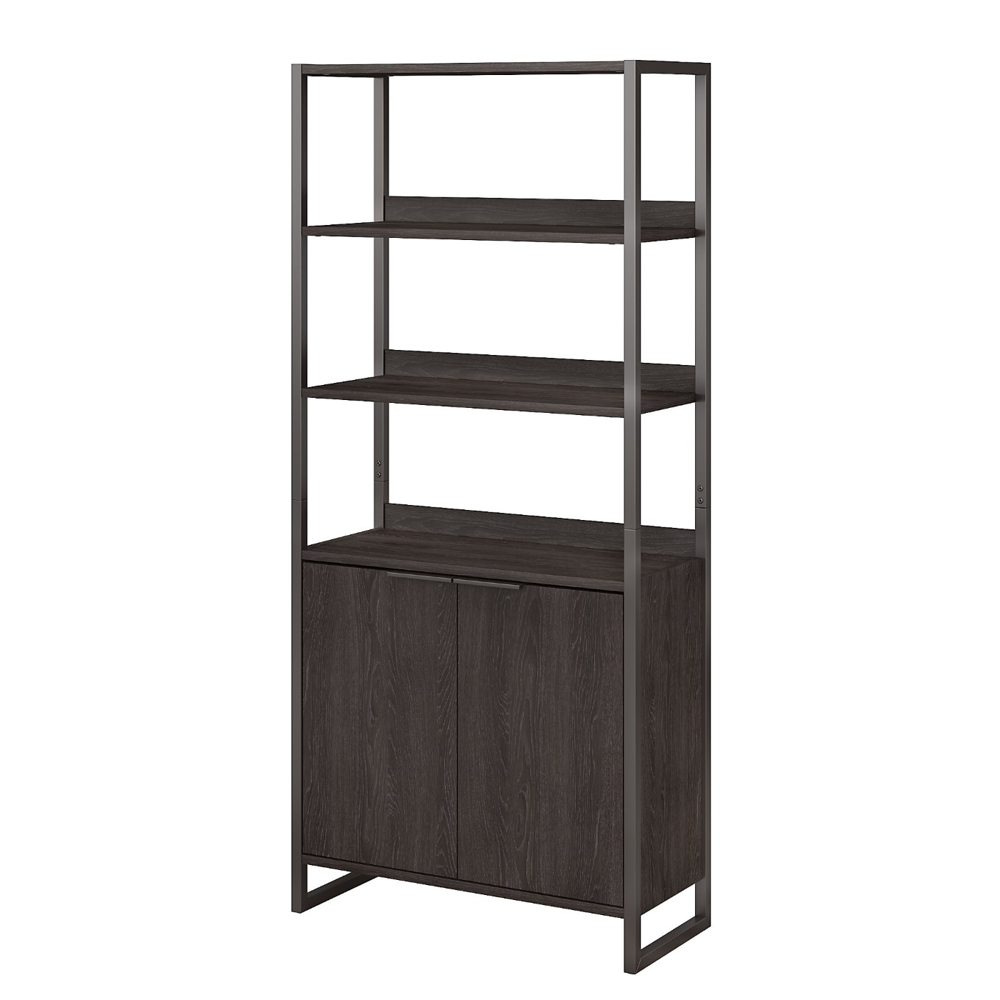 The kathy ireland� Atria 5 Shelf Bookcase with Doors is Sustainable Eco Friendly Furniture. Includes Free Shipping! 30H x 72L x 72W.