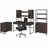 <b>OFFICE BY Kathy Ireland ATRIA 60W DESK WITH HUTCH, FILE CABINET, BOOKCASE AND HIGH BACK OFFICE CHAIR. FREE SHIPPING | TAA COMPLIANT | AMERICAN MADE 30H x 72L x 72W</b>