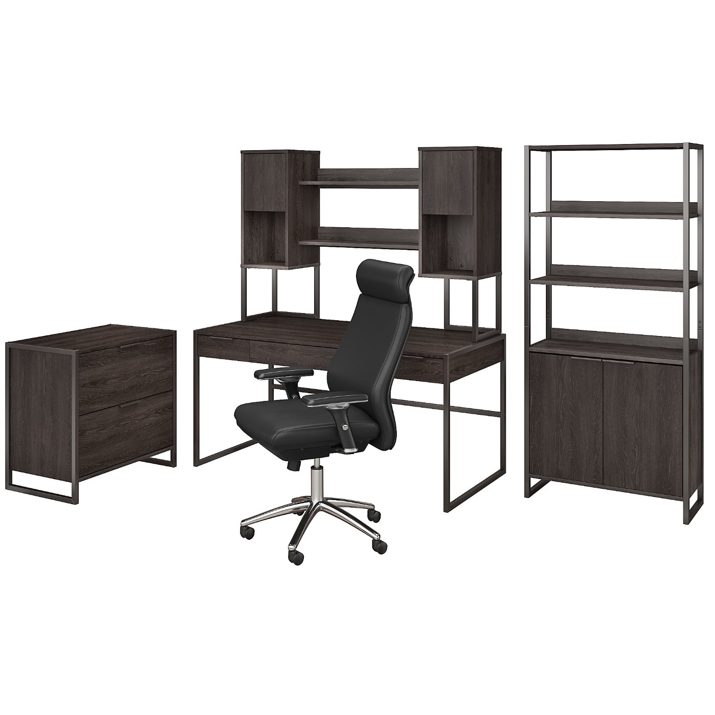 The kathy ireland� Atria 60W Desk with Hutch, File Cabinet, Bookcase and High Back Office Chair is Sustainable Eco Friendly Furniture. Free Shipping!