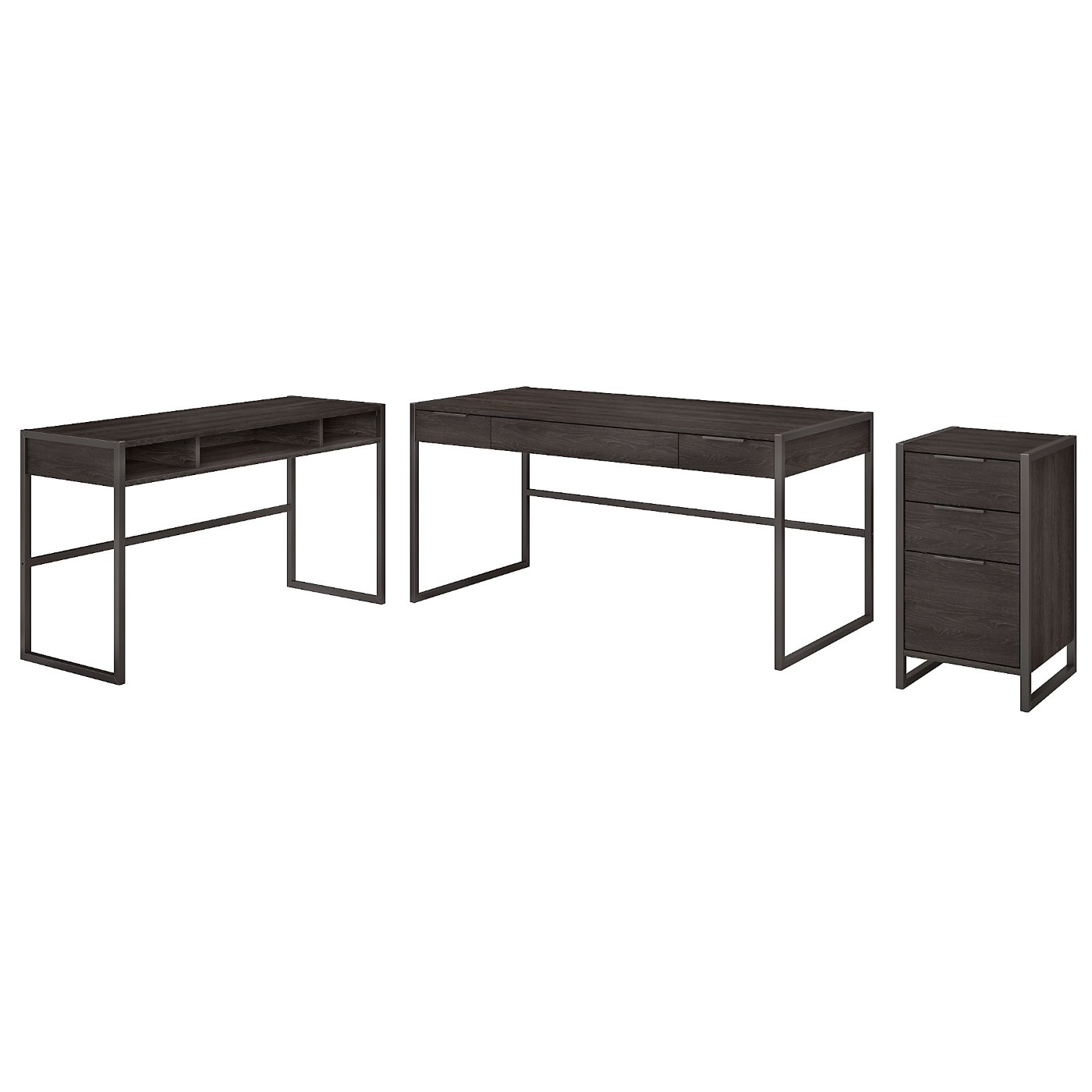 The kathy ireland� Atria 60W L Shaped Desk with 3 Drawer File Cabinet is Sustainable Eco Friendly Furniture. Includes Free Shipping! 30H x 72L x 72W.