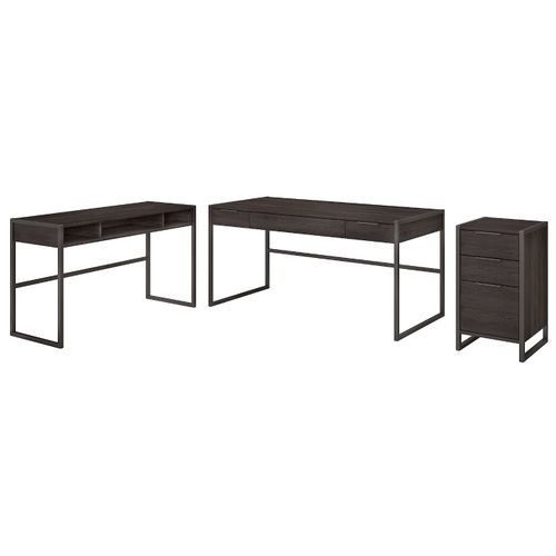 </b></font><b>The kathy ireland� Atria 60W L Shaped Desk with 3 Drawer File Cabinet is Sustainable Eco Friendly Furniture. Includes Free Shipping! 30H x 72L x 72W</font>. </b></font></b>