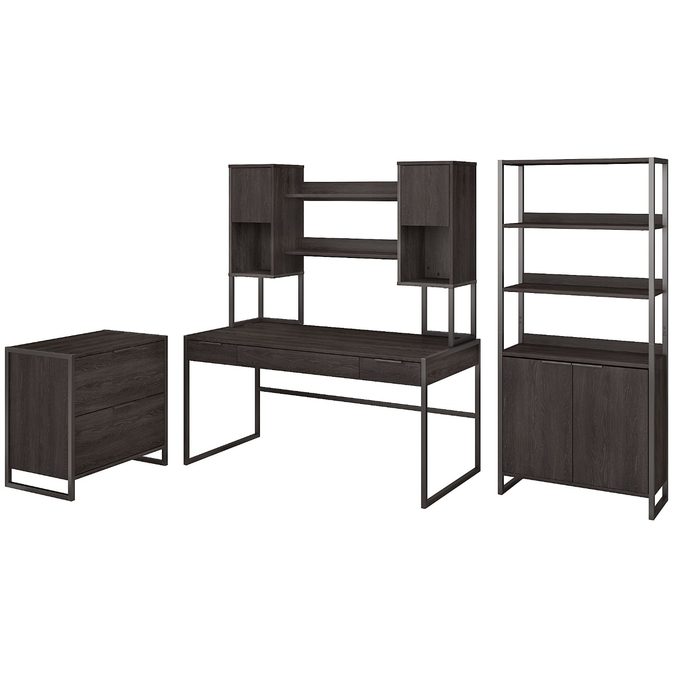 </b></font><b>The kathy ireland� Atria 60W Writing Desk with Hutch, Lateral File Cabinet and 5 Shelf Bookcase is Sustainable Eco Friendly Furniture. Includes Free Shipping! 30H x 72L x 72W</font>. <p>RATING:&#11088;&#11088;&#11088;&#11088;&#11088;</b></font></b>