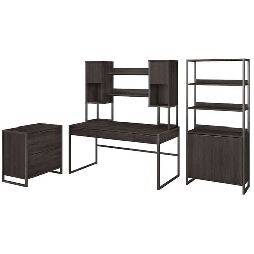</b></font><b>The kathy ireland� Atria 60W Writing Desk with Hutch, Lateral File Cabinet and 5 Shelf Bookcase is Sustainable Eco Friendly Furniture. Includes Free Shipping! 30H x 72L x 72W</font>. </b></font></b>