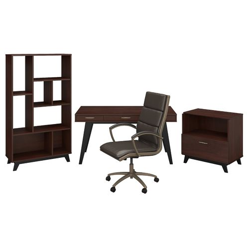 </b></font><b>The kathy ireland� Centura 60W x 30D Writing Desk with Lateral File Cabinet, Bookcase and High Back Leather Office Chair is Sustainable Eco Friendly Furniture. Includes Free Shipping! 30H x 72L x 72W</font>. </b></font></b>