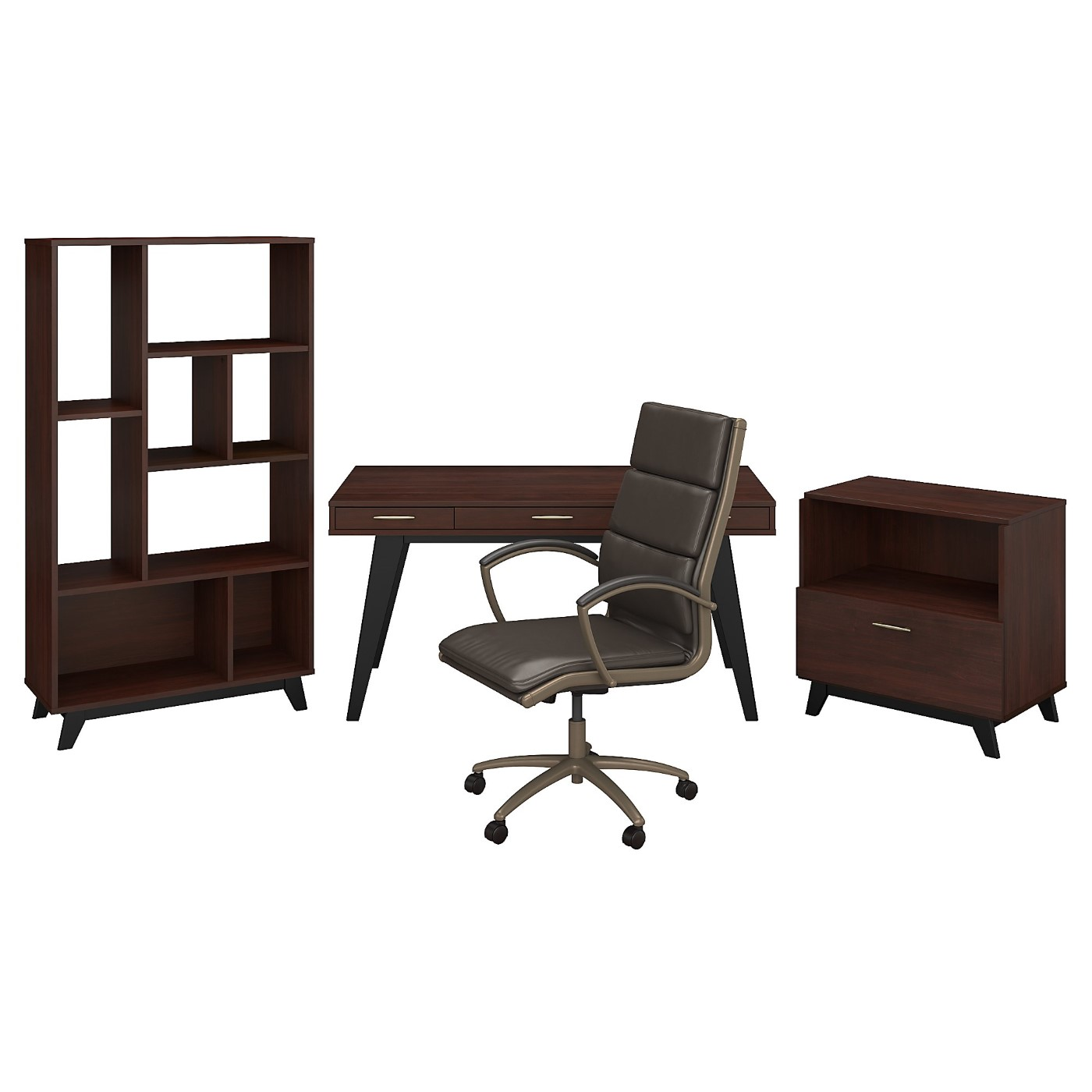 </b></font><b>The kathy ireland� Centura 60W x 30D Writing Desk with Lateral File Cabinet, Bookcase and High Back Leather Office Chair is Sustainable Eco Friendly Furniture. Includes Free Shipping! 30H x 72L x 72W</font>. <p>RATING:&#11088;&#11088;&#11088;&#11088;&#11088;</b></font></b>