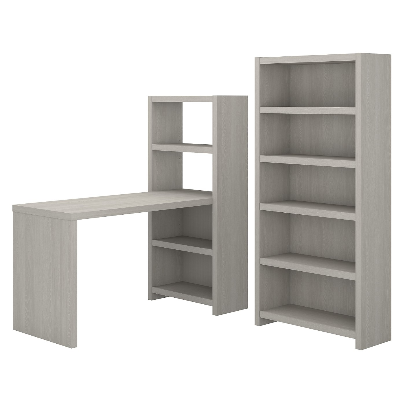 The kathy ireland� Echo Bookcase Desk with Storage is Sustainable Eco Friendly Furniture. Includes Free Shipping! 30H x 72L x 72W.