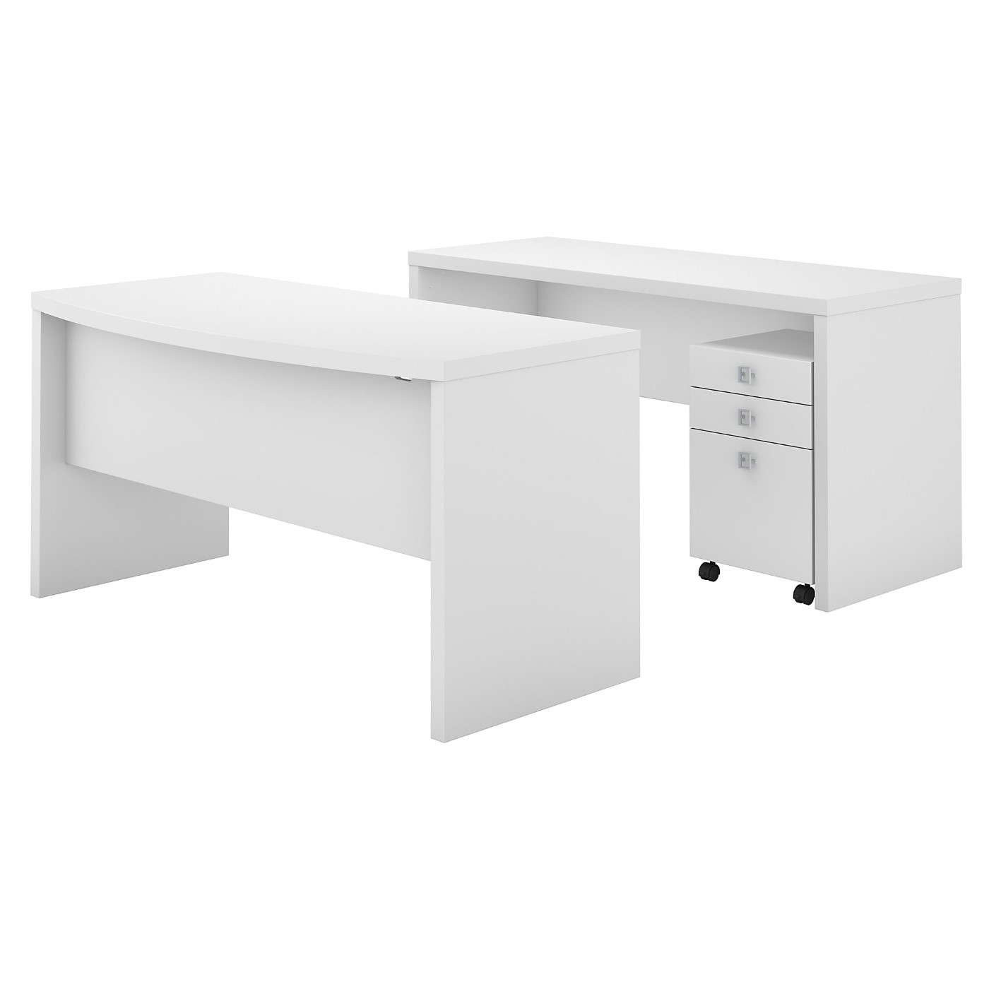 OFFICE BY KATHY IRELAND® ECHO BOW FRONT DESK AND CREDENZA WITH MOBILE FILE CABINET. FREE SHIPPING