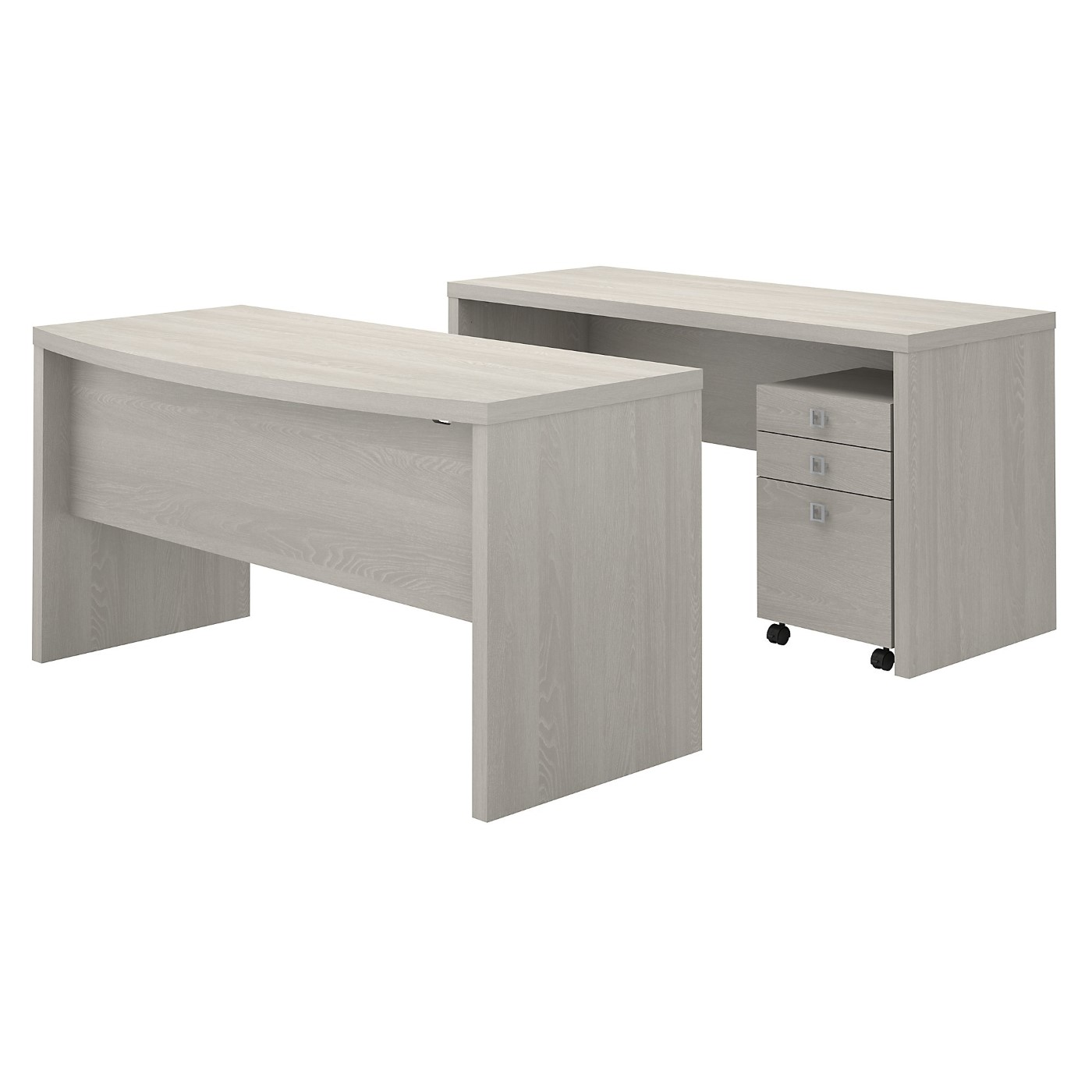 The kathy ireland� Echo Bow Front Desk and Credenza with Mobile File Cabinet is Sustainable Eco Friendly Furniture. Includes Free Shipping! 30H x 72L x 72W.