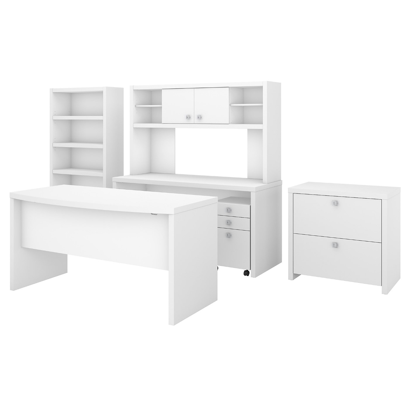 OFFICE BY KATHY IRELAND� ECHO BOW FRONT DESK, CREDENZA WITH HUTCH, BOOKCASE AND FILE CABINETS. FREE SHIPPING