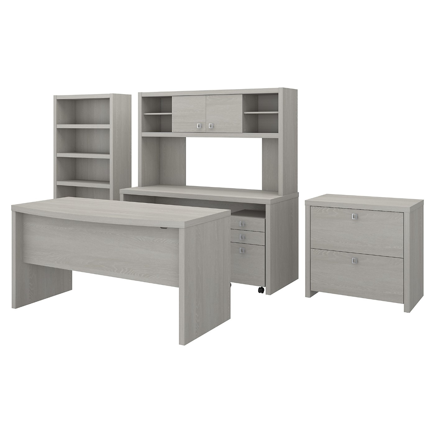 The kathy ireland� Echo Bow Front Desk, Credenza with Hutch, Bookcase and File Cabinets is Sustainable Eco Friendly Furniture. Includes Free Shipping! 30H x 72L x 72W  VIDEO BELOW.
