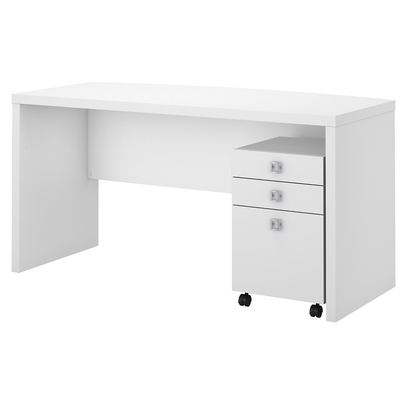 OFFICE BY KATHY IRELAND® ECHO BOW FRONT DESK WITH MOBILE FILE CABINET. FREE SHIPPING